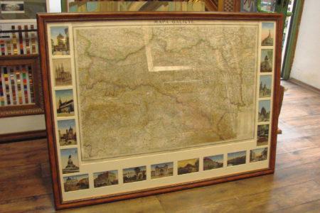 Mapa Galicyi za szkłem. Wspomnienie terenów w ramie ozdobnej.