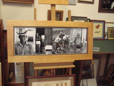 Sędziwy. Pionowy układ czterech zdjęć. Czarno-białe fotografie ułożone w szerokiej przestrzeni ramowej, wykonanej z bukowego drewna.